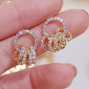 New 18k gold plated diamond earrings